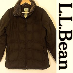 ⬇️LL Bean Down Filled Microsuede Puffer Jacket